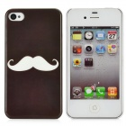 Protective Creative Mustache Pattern Back Case for Iphone 4 / 4S - Black + White