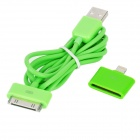 30 Pin USB Data / Charging Cable w/ 8 Pin Lightning Adapter for iPhone 5 - Light Green (100cm)