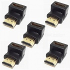 90 Degrees Angle Gold-Plating HDMI V1.4 Male to Female Adapters - Black + Golden (5 PCS)
