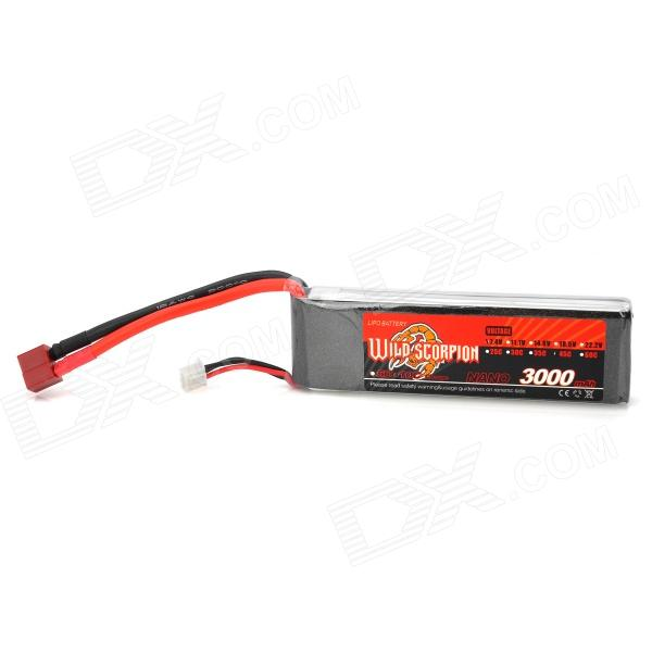 WILD SCORPION 7.4V 45C 3000mAh Li-ion Polymer Batter Pack for R/C Model - Red + Black + Silver wild scorpion replacement 14 8v 35c 3000mah li poly battery pack for r c mode red black silver