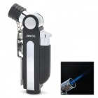JOBON 817A Stainless Steel Windproof Butane Lighter w/ Hole Puncher for Cigar - Black + Silver