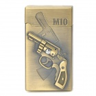 Wind Resistant Pistols Pattern Zinc Alloy Butane Jet Lighter - Antique Golden