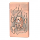 Wind Resistant Skull and Fire Pattern Zinc Alloy Butane Jet Lighter - Red Bronze