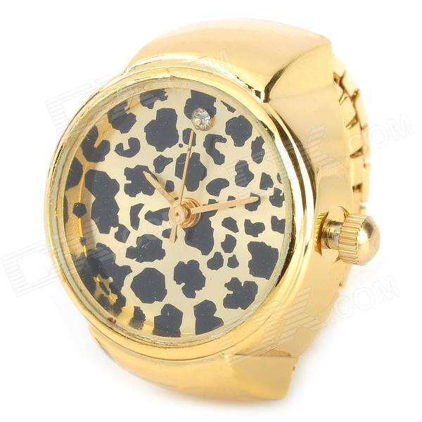 Stylish Leopard Style Finger Ring Quartz Watch - Golden (1 x 377)