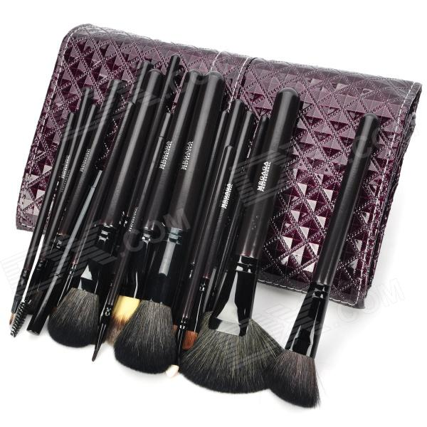 MEGAGA Professional 20-in-1 Wool Cosmetic Makeup Brush Set with Bag - Purple + Black megaga professional beauty cosmetic makeup brush set with bag 9 pcs