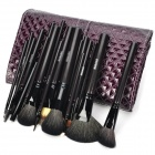 MEGAGA Professional 20-in-1 Wool Cosmetic Makeup Brush Set with Bag - Purple + Black