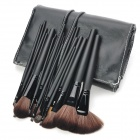 MEGAGA Professional 24-in-1 Nylon Fiber Cosmetic Makeup Brush Set with Bag - Black