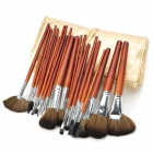 MEGAGA Professional 24-in-1 Nylon Fiber Cosmetic Brushes Set w/ Bag - Golden + Red