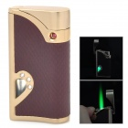 Windproof Stainless Steel Butane Jet Torch Lighter - Brown + Golden (3 x LR621)