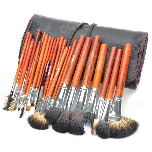 MEGAGA Professional 28-in-1 Yellow Wolf Tail Hair Cosmetic Makeup Brush Set with Bag - Black + Red total 6pcs 3 x bristle brush flexible beater brush for irobot roomba 500 series 550 560 green hi q plastic brush free post