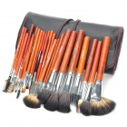 MEGAGA Professional 28-in-1 Yellow Wolf Tail Hair Cosmetic Makeup Brush Set with Bag - Black + Red