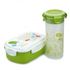 Lunch Box + Water Bottle + Spoon Set - White + Light Green