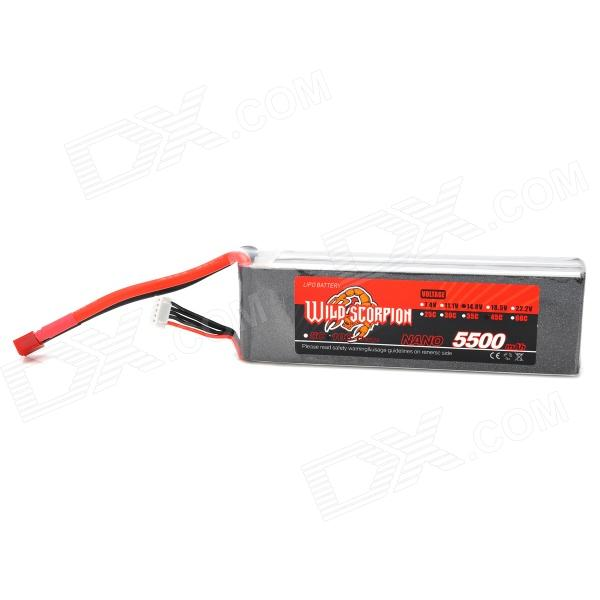 WILD SCORPION 14.8V 45C 4-Cell 5500mAh Li-ion Polymer Battery Pack for R/C Aircraft - Black + Silver free customs taxes high quality skyy 48 volt li ion battery pack with charger and bms for 48v 15ah lithium battery pack