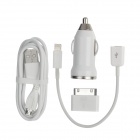 USB Car Charger w / Micro-USB-Kabel + 8pin Blitz Kabel + Micro USB Buchse auf 30pin Adapter