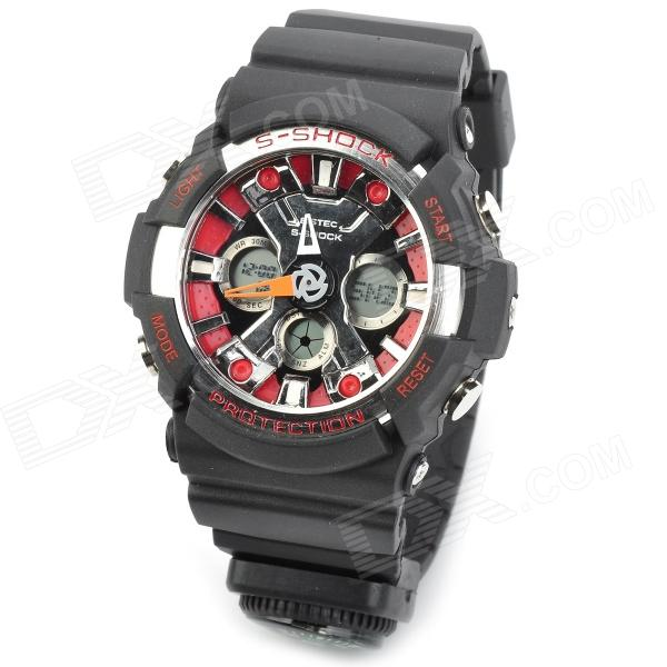 SD-1220 Water Resistant Dual Time Display Quartz Sport Wrist Watch w / Compass - Black + Red
