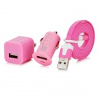 Lightning 8 Pin Male to USB Cable + US Plug Power Adapter + Car Charger Set for iPhone 5 - Pink