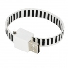 Zebra Bracelet Style 8 Pin Lightning Male to USB Male Data / Charging Cable - Black + White (23cm)