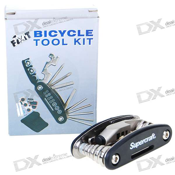 Chromed Steel Bicycle Repair Tool Kit (19-Tool Set)
