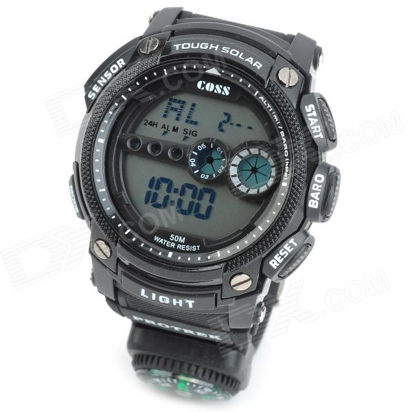 Stylish Water Resistant Diving Wrist Watch w/ EL Light / Compass - Black (1 x CR2025)
