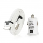 Apple 30Pin Flat Charging & Data Cable + Car Cigarette Lighter Charger for iPhone 4 / 4S - White