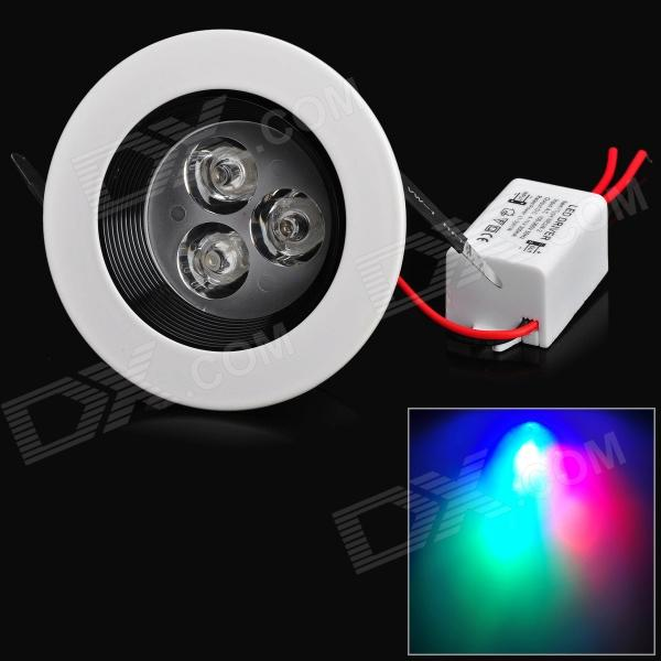 3W 180lm 3-LED RGB Ceiling Lamp w/ LED Driver (86~265V) mfx sd 002 e27 3w rgb led bulb lamp light 16 color ac85v 265v