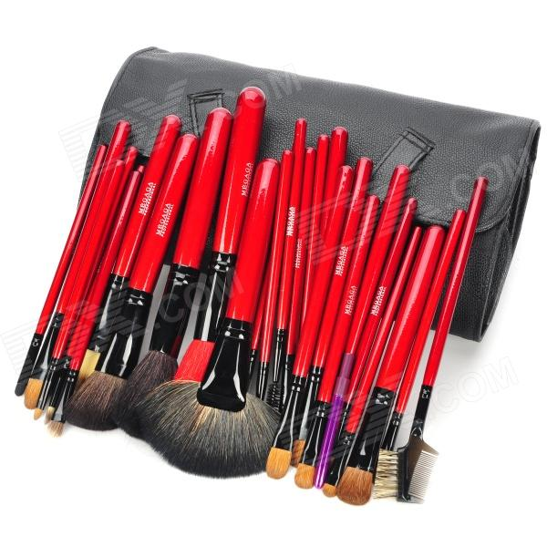 MEGAGA Professional 26-in-1 Wolf Tail + Wool Cosmetic Makeup Brush Set w/ Bag / Case - Black + Red megaga 275 7 in 1 professional cosmetic makeup brushes w carrying bag black