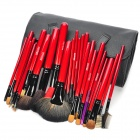 MEGAGA Professional 26-in-1 Wolf Tail + Wool Cosmetic Makeup Brush Set w/ Bag / Case - Black + Red