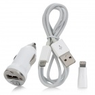 Car Charger + Micro USB Cable + 8-pin Lightning Adapter - White + Silver
