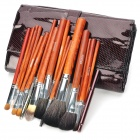 MEGAGA Professional 20-in-1 Yellow Wolf Tail Hair + Wool Cosmetic Makeup Brush Set with Bag - Brown
