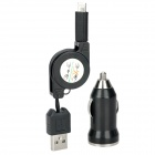 2-in-1 Car Cigarette Lightning Charger + UBS 8Pin Expansion Cable for iPhone 5 / iPad 4 - Black