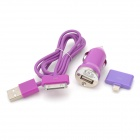 Car Charger + 8-Pin Lightning Male to 30-Pin Female Adapter + Apple 30-Pin Cable for iPhone - Purple
