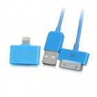 30-Pin Female to 8-Pin Lightning Adapter + USB Data / Charging Cable for iPhone 5 / iPad - Blue