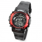 Multifunction Digital Sports Wrist Watch w / Luminous Hand - Black + Red