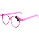 Cute Cat Face Pattern Glasses Frame Ballpoint Pen - Rose Red (2 PCS)