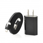 USB US Plug Power Adapter w/ USB to 8pin Lightning Cable - Black (100-240V)