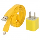 W1303 USB to 8-Pin Lightning Male Flat Charging Cable + US Plug Power Adapter for iPhone 5 - Yellow