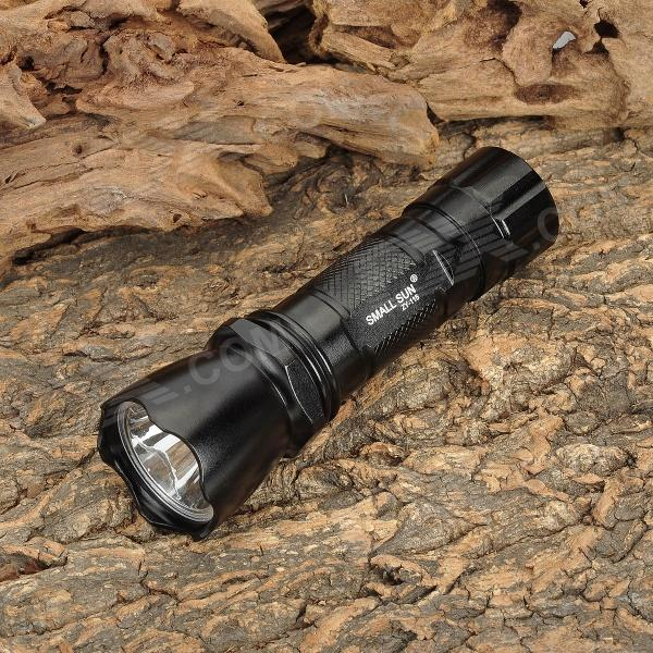Small Sun ZY-115 LED 90lm White Outdoor Hiking Flashlight - Black (3 x AAA)
