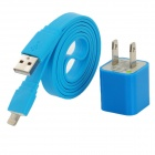 W1302 USB to 8-Pin Lightning Male Flat Charging Cable + US Plug Power Adapter for iPhone 5 - Blue