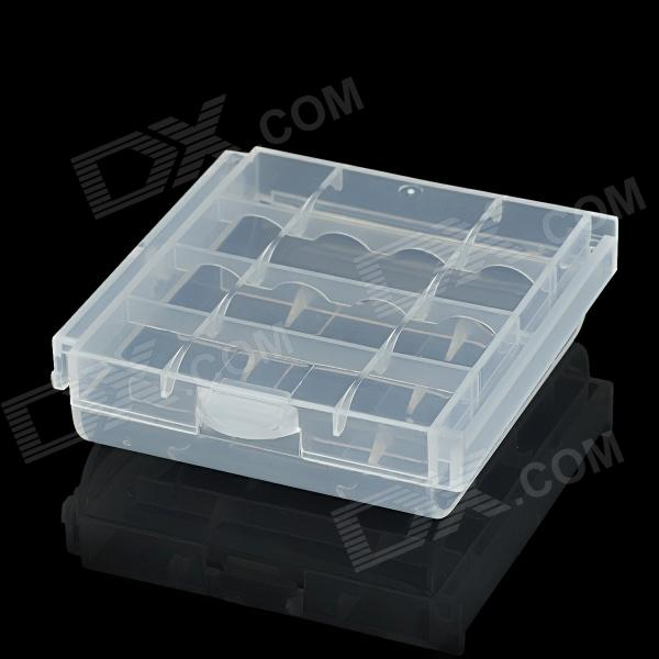 Protective PP Storage Case for 4 x AA / AAA Batteries - Transparent White