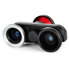 FWM 4-in-1 Fish eye + Macro + Wide Angle Lens + Front Camera for Iphone 5 - Black + Red + Silver