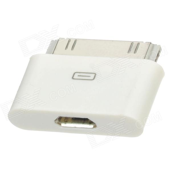 2-in-1 Micro USB 5 Pin Female to 30 Pin / 6 Pin Adapter for iPhone 4S / Samsung P1000 - White