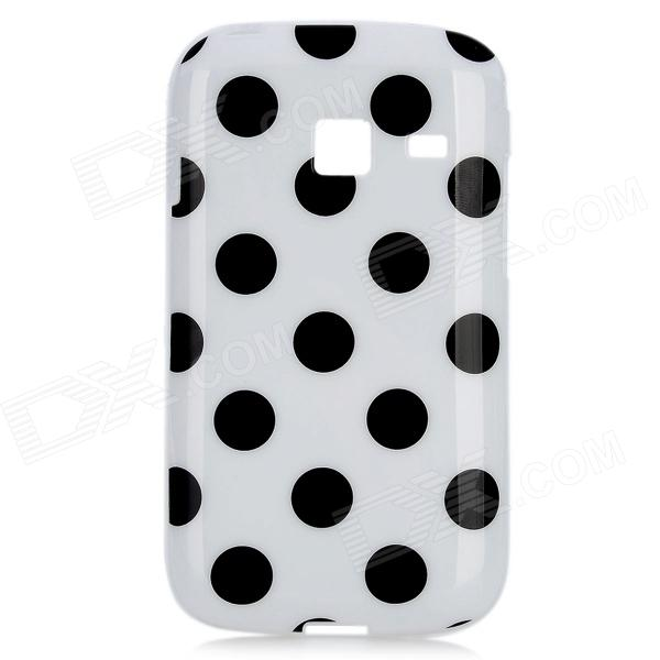 Polka Dots Pattern Protective TPU Back Case for Samsung S6102 - Black + White protective polka dots pattern silicone back case for iphone 5 pink