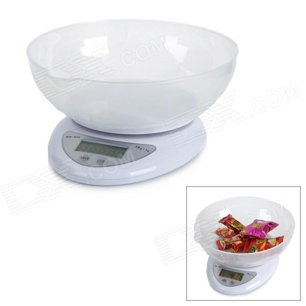 WH-B05 Kitchen 1.5' LCD Digital Bench Scale - White (2 x AAA) 1 5 lcd digital electronic scale 2 x aaa