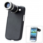 8X Zoom Telescope Lens w/ Protective Back Case for Samsung Galaxy S3 Mini i8190 - Black+Transparent