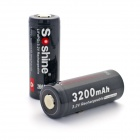 Soshine 26650 3.2V 3200mAh LiFePO4 Battery w/ PCB Protection - Black (2 PCS)