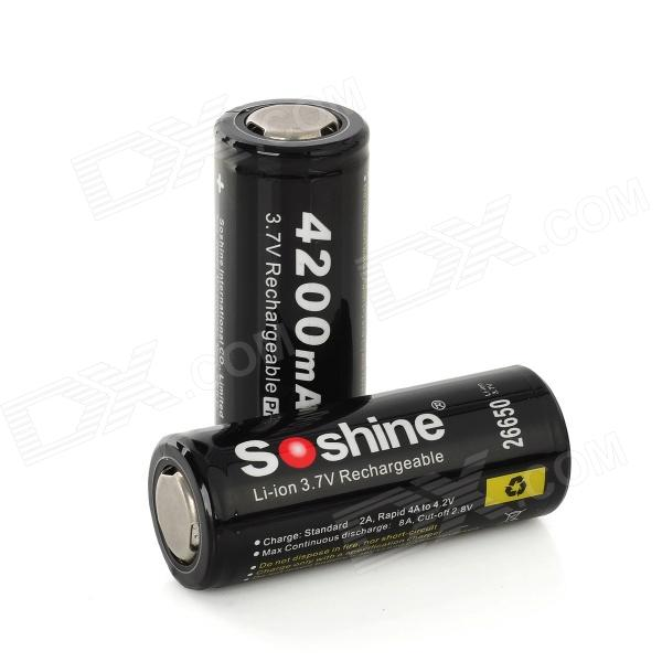 Soshine 26650 3.7V 4200mAh Li-ion Battery w/ PCB Protection - Black (2 PCS) yes yes relayer cd dvd
