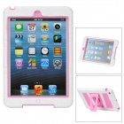 Stylish Anti-Shock Protective Dual-Color Case w/ Stand for iPad Mini - White + Pink