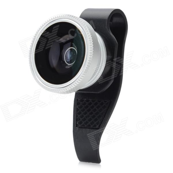 Aluminum Alloy Lens w/ Clip + Cover for Cellphone / Tablet - Black + Silver