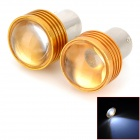 1156 1.5W 102lm 1-LED White Light Car Brake / Backup Bulb - Silver + Yellow (DC 12V / 2 PCS)