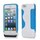 2200mAh Rechargeable External Power Bank Charger w/ USB Cable for iPhone 5 - White + Blue